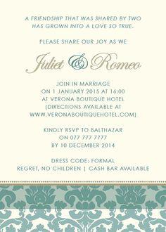 Vintage Damask Wedding Invitation DIY Printable by belladancerws, $20.00