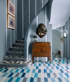 Tiled floors in Moroccan entryway