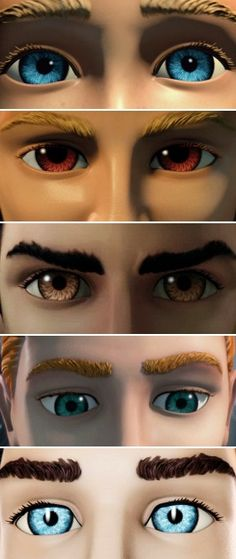 The Eyes of the Tracy Brothers. They like to show their eyes a lot in the show! Alan has freckles!