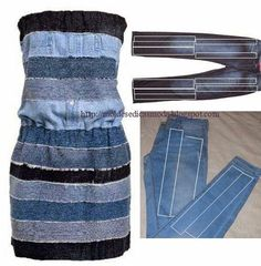 Time to Repurpose Old Jeans into New Fashion! Jeans has been such a trendy fashion for men and women for decades, and it's far more than the original function but chic addition for ladies now. Refashion Dress, Jeans Refashion, Diy Jeans, Diy Dress, Prom Dress, Sewing Jeans, Sewing Clothes, Diy Fashion, Ideias Fashion