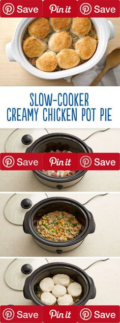 Chicken pot pie made in a slow-cooker -- it couldn't get any easier! This biscuit-topped beauty delivers on pot pie flavor without the hassle. Simply turn on the crock pot for a flavorful dinner at the end of the day.  #pizza