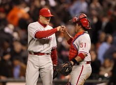 Jonathan Papelbon #58 and Carlos Ruiz #51  celebrate after the Phillies win!