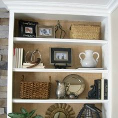 Burlap Backed Bookcases. Instead paint a contrasting color that matches fireplace paint. Note arrangements & Office Makeover Reveal | Pinterest | Decorating Check and Greenery