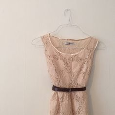 lace dress with belt. Beautiful lace dress. Comes with brown faux leather belt. Very good condition - only worn once! Romy Dresses