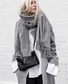 casual everyday outfit with grey wool coat