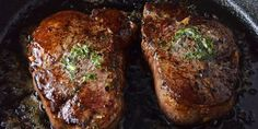 Pan seared filet mignon with garlic and herb butter is the only filet mignon recipe you will ever need. Never grill steak again—the fail-proof method to cooking the perfect filet mignon in a cast iron skillet. Cast Iron Filet Mignon, Pan Seared Filet Mignon, Filet Mignon Oven, Grilled Steak Recipes, Grilling Recipes, Cooking Recipes, Marinated Steak, Meat Recipes, Delicious Recipes
