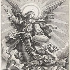 Recto St Michael triumphing over the dragon; St Michael, holding a cross-ended spear and a shield, seen standing and transfixing a monstrous creature, with breasts, wings and a dragon tail. Engraving © The Trustees of the British Museum St. Michael Tattoo, Archangel Michael Tattoo, Catholic Art, Religious Art, St Micheal, Biblical Art, Angels And Demons, Art Graphique, Angel Art
