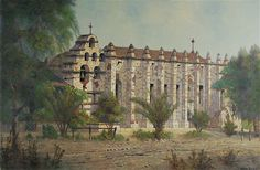 """Mission San Gabriel Arcangel"" by Edwin Deakin. On Display at the Santa Barbara Archive Library. www.fineartconservationlab.com"