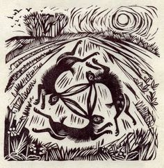 3 hares - celia hart, linocut: I love the movement she is able to suggest through her fluid linocuts.