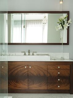 bathrooms - gray walls double sinks modern bathroom vanity overmount sinks sconces mirror  Blue gray brown modern bathroom design with gray walls for boys