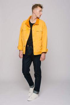 5f543fbd1c34 Oversized Shearling Denim Jacket - Man - Color Yellow - Size M L Coloured  Denim