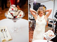 Ice cream bar instead of cake! The bride and groom ate a big sundae instead of cutting the cake.