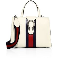Gucci Medium Dionysus Leather Top-Handle Bag ($2,350) ❤ liked on Polyvore featuring bags, handbags, shoulder bags, gucci, apparel & accessories, genuine leather purse, white shoulder bag, leather purses, genuine leather shoulder bag and real leather purses