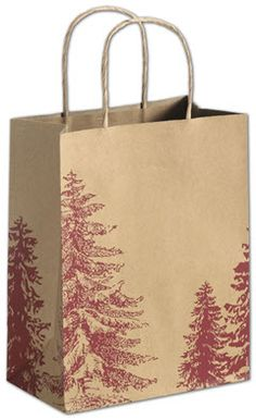 A Pine Day Shoppers 8 1/4 x 4 3/4 x 10 1/2.   ◾250 bags per case. ◾Made of 74# recycled natural kraft paper with a varnish finish. ◾80% post-consumer waste. ◾Recyclable. ◾Kraft twisted-paper handles. ◾Serrated-edge top. ◾This product can be personalized with your business information or logo. Call 800.379.7969 for assistance. ◾Coordinate with other items in the A Pine Day Collection. ◾Eco-Friendly.