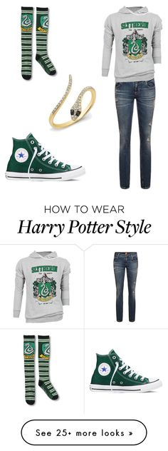 """Slytherin Pride"" by emterhud on Polyvore featuring Converse"