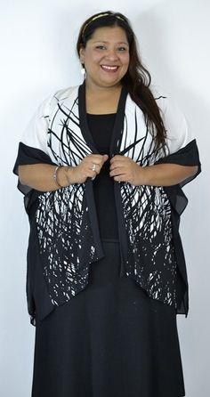 Black & White Abstract Print Plus  Kimono by SPIN - Debra's Passion Boutique…