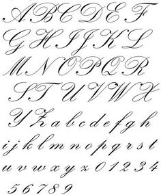 Baroque Includes Copperplate, Zaner's Script, English Roundhand, Spencerian, and Engraver's Script. Tattoo Fonts Alphabet, Tattoo Lettering Fonts, Hand Lettering Alphabet, Lettering Styles, Script Fonts, Cursive Alphabet, Typography, Calligraphy Handwriting, Calligraphy Letters