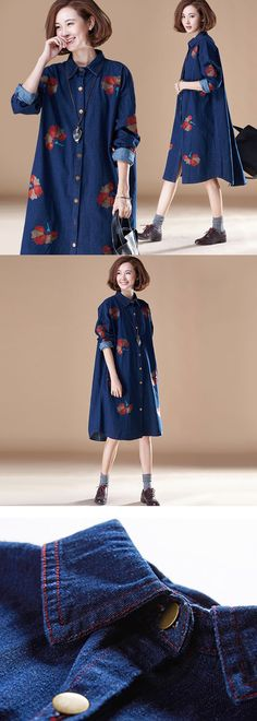 Embroidered Denim Dress More