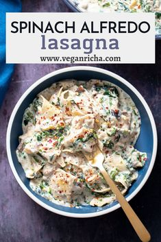 Vegan Spinach Alfredo Skillet lasagna makes the perfect weeknight dinner ! An easy vegan pasta recipe that is family-friendly, uses just 1 skillet, and is ready to eat in about 45 minutes! Spinach Alfredo, Alfredo Lasagna, Delicious Vegan Recipes, Vegetarian Recipes, Spinach Noodles, Skillet Lasagna, Vegan Pasta, Just Cooking, Pasta Recipes