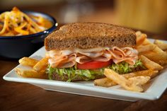 Classic Turkey Toasted Sandwich: With lettuce, tomatoes, provolone and mayo on wheat Texas toast. #Chilis