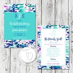 Watercolor Nashville bachelorette invitation by Trusner Designs