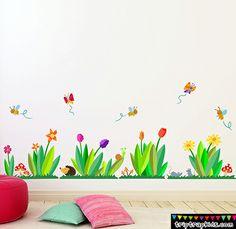 vinilo infantil Jardin de flores con animales