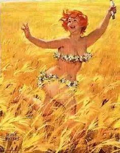Field of Dreams Pin-up Girl by Duane Bryers: Hilda Curvy Pin Up, Field Of Dreams, Calendar Girls, Wow Art, Pin Up Art, Mellow Yellow, Big And Beautiful, Real Women, Pin Up Girls