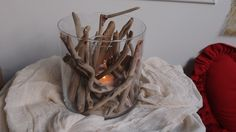 Driftwood Centerpiece, Driftwood Candle Holder - Centerpiece..Δεξιωση γαμου στολισμός στο τραπέζι.θαλασσόξυλα Driftwood Art, Nature Decor, Candle Holders, Candles, Branches, Diy, Natural, Home, Natural Decorating