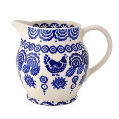 Three French Hens - Emma Bridgewater blue hen and border 1.5 pint jug, $64 distinctive-decor.com