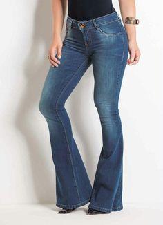 e3e549e2ba Calça Flare Sawary Jeans com Cintura Média