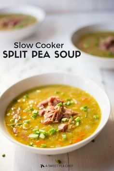 Slow Cooker Split Pea Soup | This slow cooker split pea soup is easy, protein-packed, and delicious! | A Sweet Pea Chef