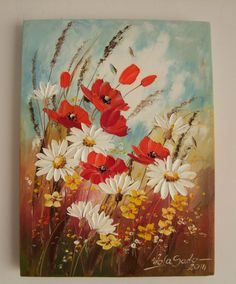 Red Poppies Daisies Original Impasto Oil Painting Meadow Flowers Europe Artist #Impressionismimpastopaletteknifetexturedart