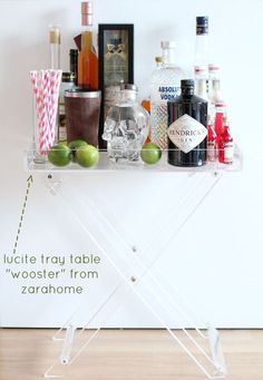 Lucite tray table ~ used as a bar tray. | bar cart, home decor ideas