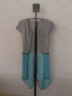 Recycled Sweater Jacket Gray Teal Turquoise Ladies Fashion Coat Womens Boho Fairy Skirt  Hand Made Gypsy Upcycled Clothing Eco Friendly