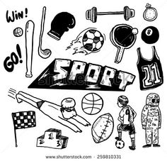 hand drawn #sport themed #doodle #design #graphic #vector #illustration