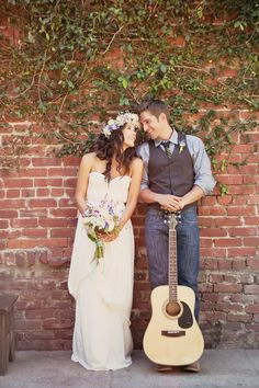 boho chic bride and groom with guitar and flower crown