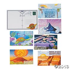 """Awesome Adventure Postcard Bulletin Board Cutouts $0.79 for 7 pc set - 9x12 in - on the bulletin board """"WISH YOU WERE HERE"""""""
