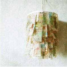 ...map chandelier...neat! could use paint chips for this too.