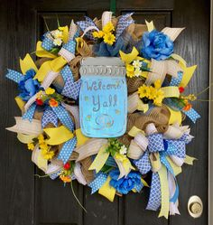 Hey, I found this really awesome Etsy listing at https://www.etsy.com/listing/489485994/welcome-yall-deco-mesh-wreath-deco-mesh