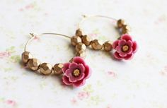 Autumn Morning Flower Hoops Earrings