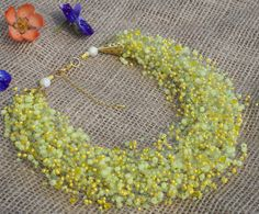 Multistrand Airy Crocheted Necklace Soft Green by NadLieTreasures