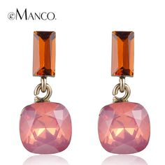 Pink opal crystal earrings for women 2015 cute girl crystal geometric small drop earrings boucles d'oreille women eManco $7