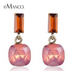 Pink opal crystal earrings for women 2015 cute girl crystal geometric small drop earrings boucles d'oreille women eManco $7