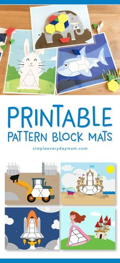 Printable Pattern Block Mats | These tangram puzzles are a great hands on preschool activity that will help with math, shape identification, and more!   #preschoolactivities #finemotor #learningmath #preschool #kidsactivities