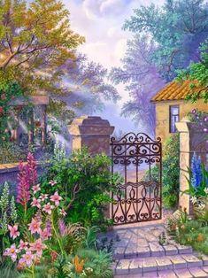 Garden Entrance - Other Wallpaper ID 1977496 - Desktop Nexus Abstract Silk Ribbon Embroidery, Embroidery Kits, L'art Du Ruban, Band Kunst, Garden Entrance, Garden Gate, Cottage Art, Illustration Art, Illustrations
