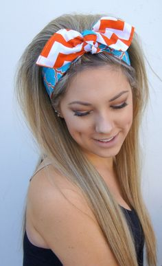 Dolly Bow Headband Rockabilly PIN UP Chevron by Nachibands on Etsy, $12.00