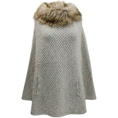 Ivory Knit Poncho With Faux Fur Neckline ($60) ❤ liked on Polyvore featuring outerwear, ivory, poncho shawls, shawl poncho, green shawl, faux fur shawl, fake fur shawl and green poncho