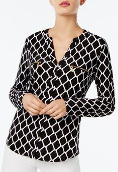 c95c5871acc55 Womens Gold ZipPocket Shirt BlouseClassy Geo White Geo Print Long Work  TopGeoS >>> Be
