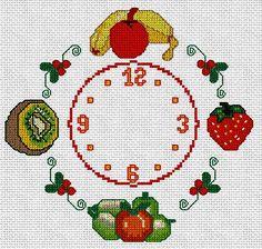 CKRJ-6: Reloj de cocina con frutas a punto de cruz