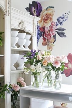 Can you think of anything more poetic than a floral shop using our Vintage florals? Here's another up-close look at new wall installation, just in time for spring! Flower Boutique, Starter Home, Wall Installation, Colorful Wallpaper, New Wall, Flower Designs, Flower Power, Wall Decals, Bloom